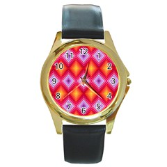 Texture Surface Orange Pink Round Gold Metal Watch