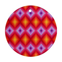 Texture Surface Orange Pink Round Ornament (two Sides)