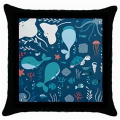 Cool Sea Life Pattern Throw Pillow Case (black)