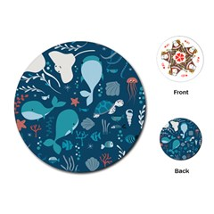 Cool Sea Life Pattern Playing Cards (round)