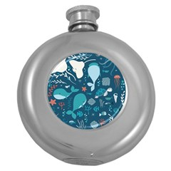 Cool Sea Life Pattern Round Hip Flask (5 Oz)