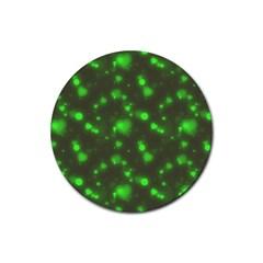 Neon Green Bubble Hearts Rubber Coaster (round)
