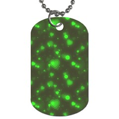 Neon Green Bubble Hearts Dog Tag (two Sides)