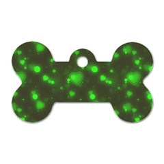 Neon Green Bubble Hearts Dog Tag Bone (two Sides)