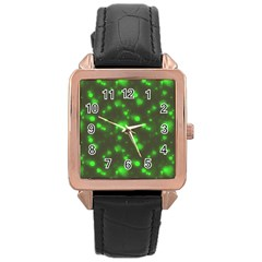 Neon Green Bubble Hearts Rose Gold Leather Watch