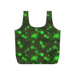Neon Green Bubble Hearts Full Print Recycle Bags (s)