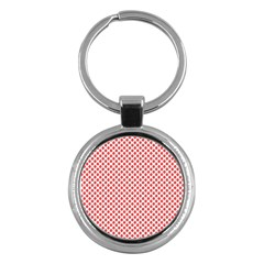 Sexy Red And White Polka Dot Key Chains (round)