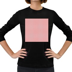 Sexy Red And White Polka Dot Women s Long Sleeve Dark T Shirts