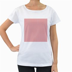 Sexy Red And White Polka Dot Women s Loose Fit T Shirt (white)