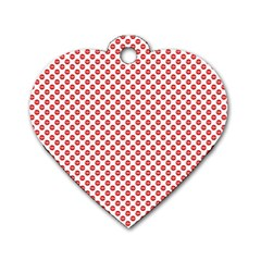 Sexy Red And White Polka Dot Dog Tag Heart (one Side)