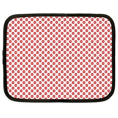 Sexy Red And White Polka Dot Netbook Case (xxl)