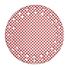 Sexy Red And White Polka Dot Ornament (round Filigree)