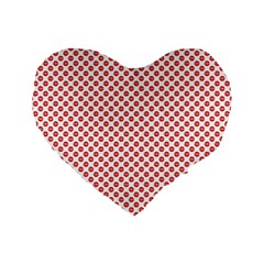 Sexy Red And White Polka Dot Standard 16  Premium Flano Heart Shape Cushions