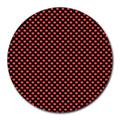 Sexy Red And Black Polka Dot Round Mousepads