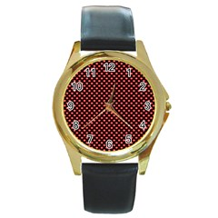 Sexy Red And Black Polka Dot Round Gold Metal Watch