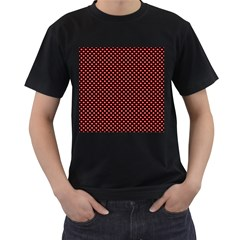 Sexy Red And Black Polka Dot Men s T Shirt (black) (two Sided)