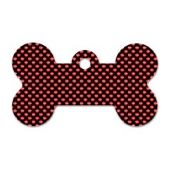 Sexy Red And Black Polka Dot Dog Tag Bone (one Side)