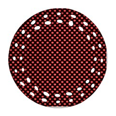 Sexy Red And Black Polka Dot Ornament (round Filigree)
