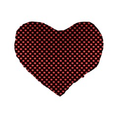 Sexy Red And Black Polka Dot Standard 16  Premium Heart Shape Cushions