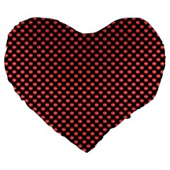 Sexy Red And Black Polka Dot Large 19  Premium Heart Shape Cushions