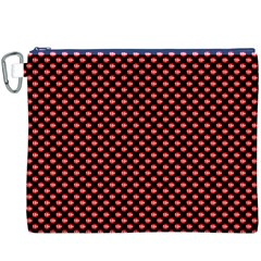 Sexy Red And Black Polka Dot Canvas Cosmetic Bag (xxxl)