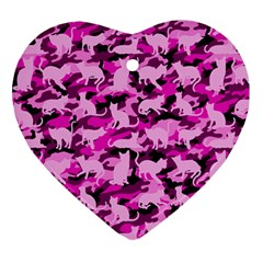 Hot Pink Catmouflage Camouflage Ornament (heart)