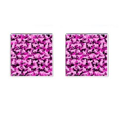 Hot Pink Catmouflage Camouflage Cufflinks (square)