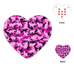 Hot Pink Catmouflage Camouflage Playing Cards (heart)