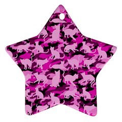 Hot Pink Catmouflage Camouflage Star Ornament (two Sides)