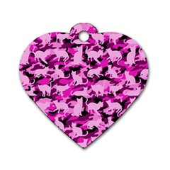 Hot Pink Catmouflage Camouflage Dog Tag Heart (one Side)