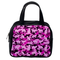 Hot Pink Catmouflage Camouflage Classic Handbags (one Side)