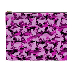 Hot Pink Catmouflage Camouflage Cosmetic Bag (xl)