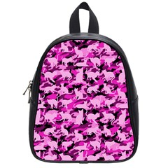Hot Pink Catmouflage Camouflage School Bag (small)