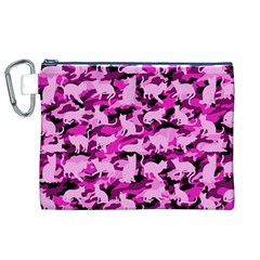 Hot Pink Catmouflage Camouflage Canvas Cosmetic Bag (xl)