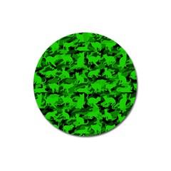 Bright Neon Green Catmouflage Magnet 3  (round)