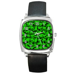 Bright Neon Green Catmouflage Square Metal Watch