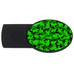 Bright Neon Green Catmouflage Usb Flash Drive Oval (4 Gb)