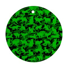 Bright Neon Green Catmouflage Round Ornament (two Sides)
