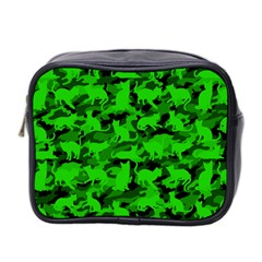 Bright Neon Green Catmouflage Mini Toiletries Bag 2 Side