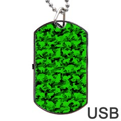 Bright Neon Green Catmouflage Dog Tag Usb Flash (two Sides)
