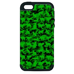 Bright Neon Green Catmouflage Apple Iphone 5 Hardshell Case (pc+silicone)