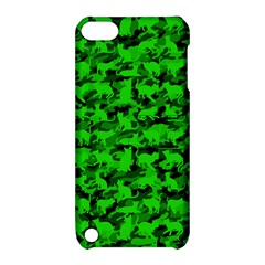 Bright Neon Green Catmouflage Apple Ipod Touch 5 Hardshell Case With Stand