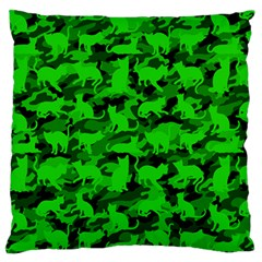 Bright Neon Green Catmouflage Standard Flano Cushion Case (two Sides)