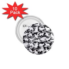 Black And White Catmouflage Camouflage 1 75  Buttons (10 Pack)
