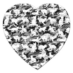 Black And White Catmouflage Camouflage Jigsaw Puzzle (heart)