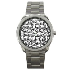 Black And White Catmouflage Camouflage Sport Metal Watch