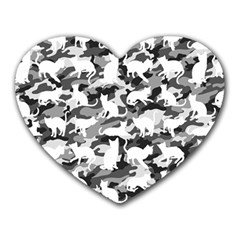 Black And White Catmouflage Camouflage Heart Mousepads
