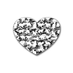 Black And White Catmouflage Camouflage Rubber Coaster (heart)