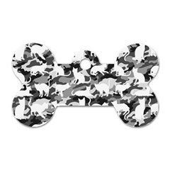 Black And White Catmouflage Camouflage Dog Tag Bone (two Sides)
