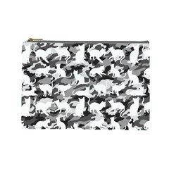 Black And White Catmouflage Camouflage Cosmetic Bag (large)